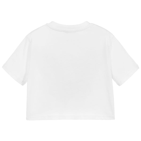 Girls White Logo Cotton T-shirt