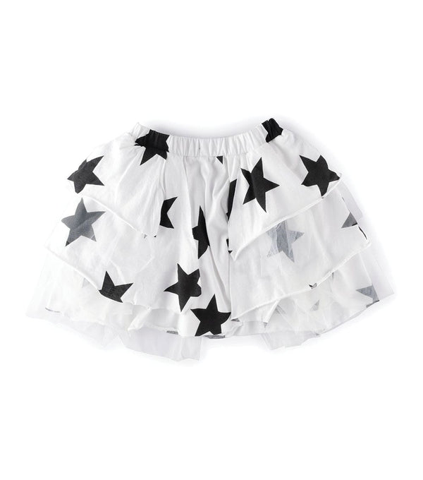 Girls White Star Tulle Skirt