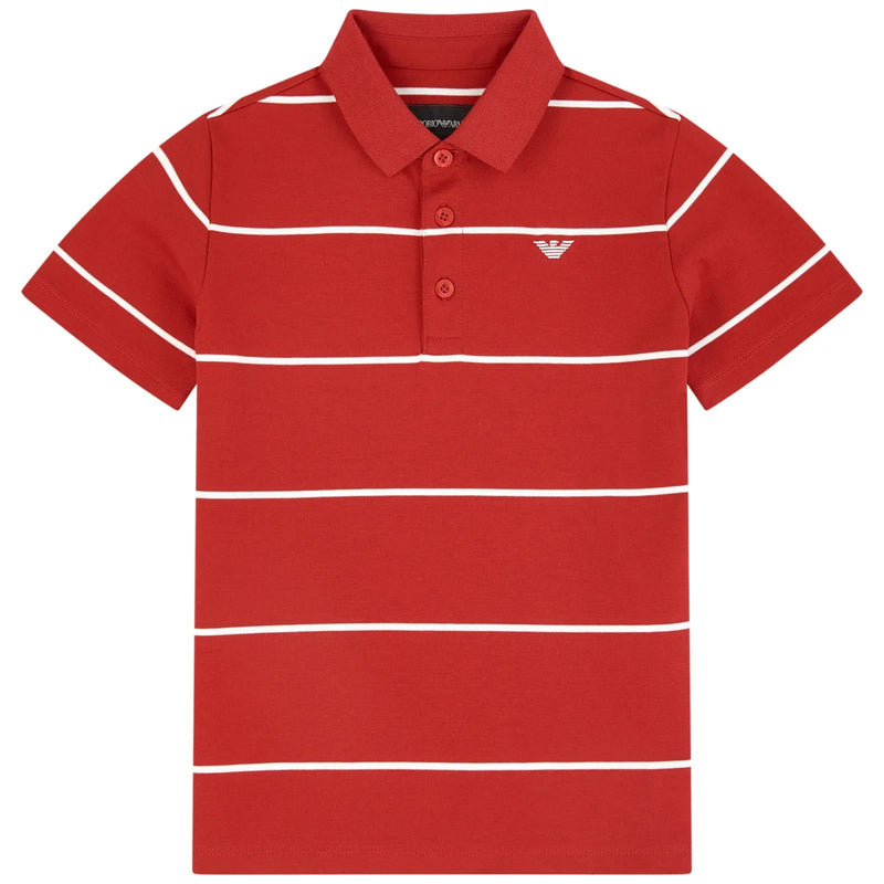 Boys Red Striped Cotton Polo Shirt