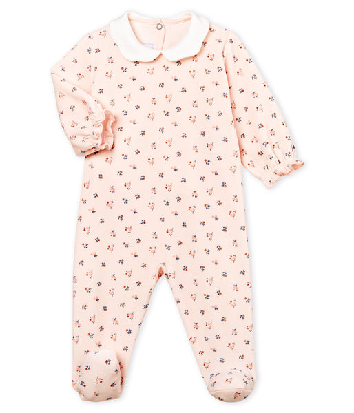 Baby Girls Light Pink Flowers Jumpsuit