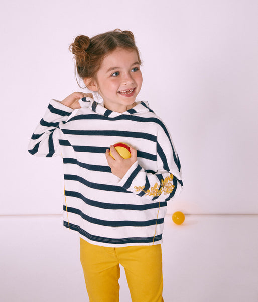 Girls White & Black Stripe Sweatshirt
