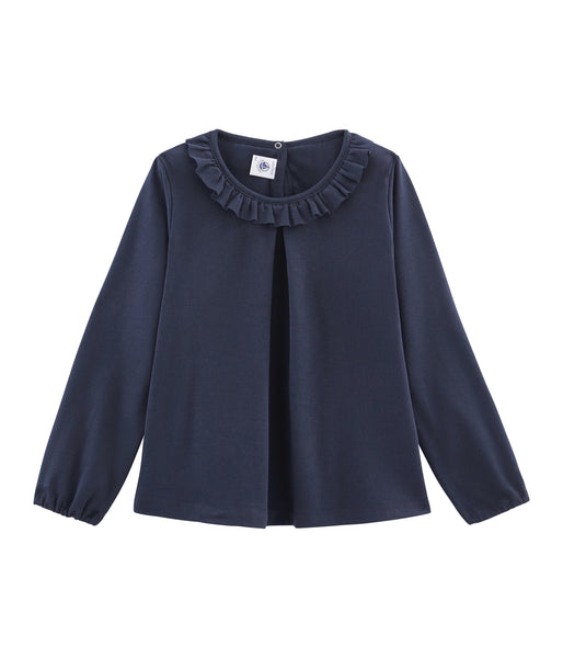 Girls Blue Frill Shirt