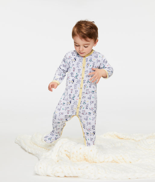 Baby Boys Grey Printing Cotton Babysuits