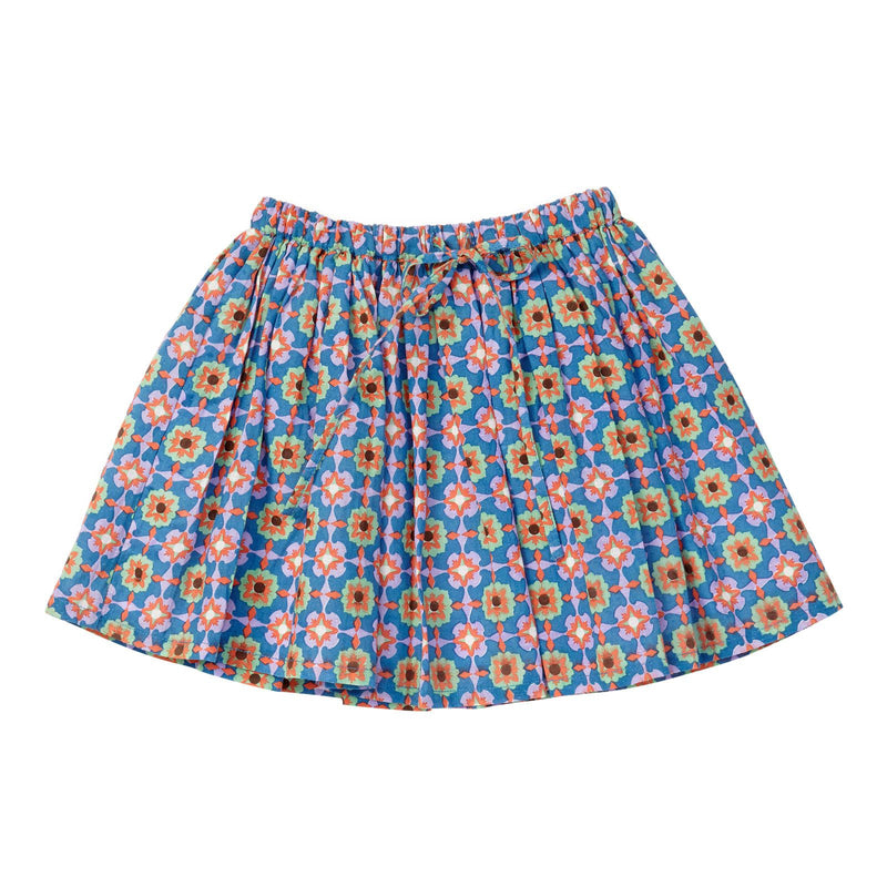 Girls Blue Orchid Block Printed Woven Skirt - CÉMAROSE | Children's Fashion Store