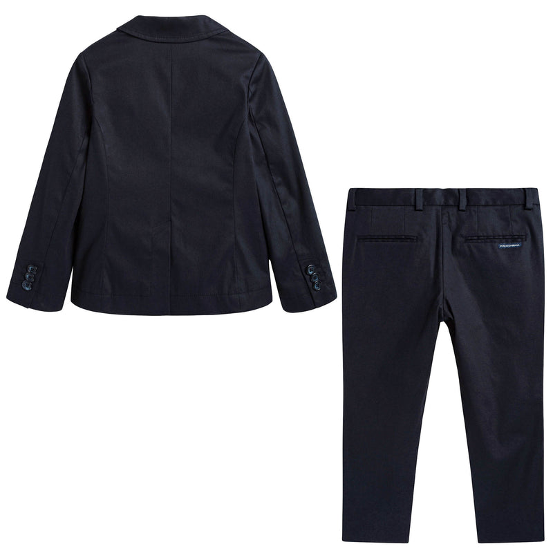Boys Dark Blue Wool & Silk Tuxedo
