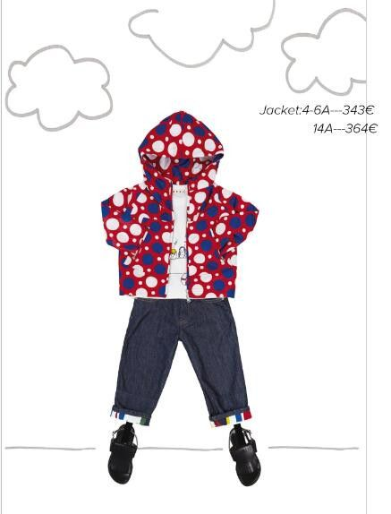 Girls Red Cotton Hooded Jacket With Multicolor Spot Print - CÉMAROSE | Children's Fashion Store - 2