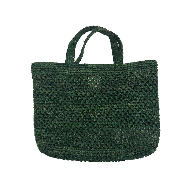 Girls Green Shine Straw Small Bag