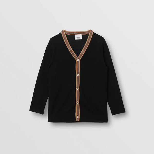 Boys & Girls Black Knit Merino Wool Cardigan