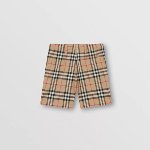 Boys Beige Stripe Cotton Shorts