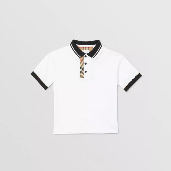 Boys White Jerseywear Cotton Polo Shirt