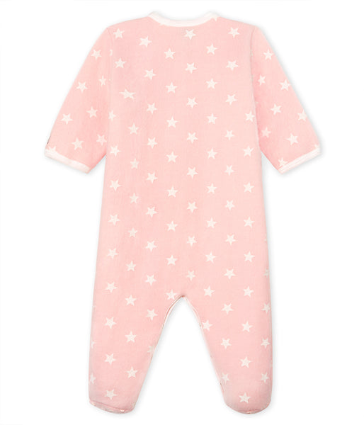 Baby Girls Pink Star Cotton Babysuit