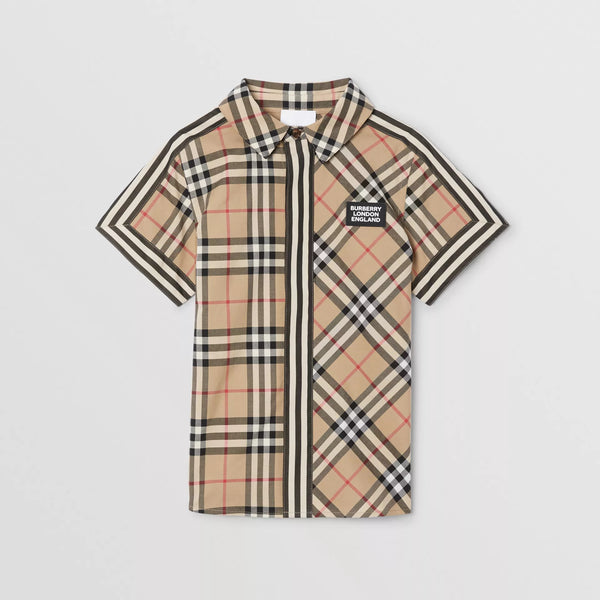 Boys Beige Stripe Cotton Shirt