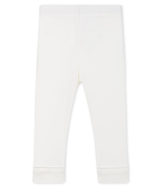 Baby Girls White Cotton Leggings
