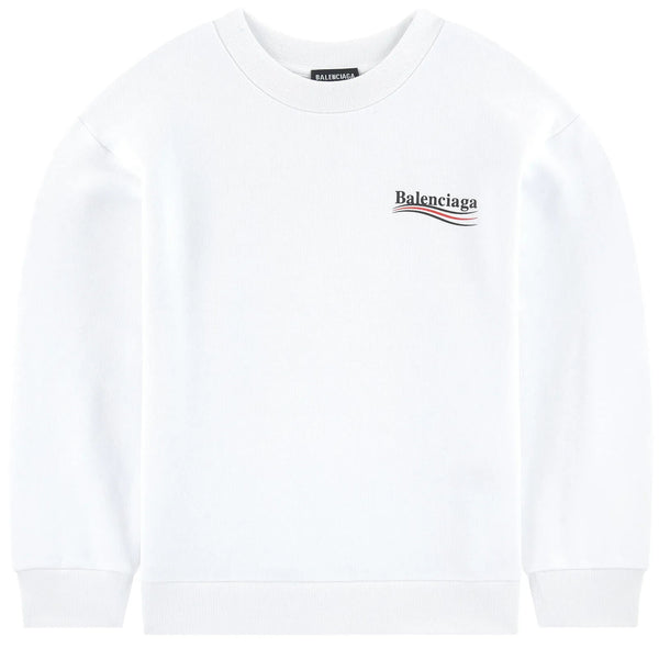 Boys & Girls White Logo Cotton Sweatshirt