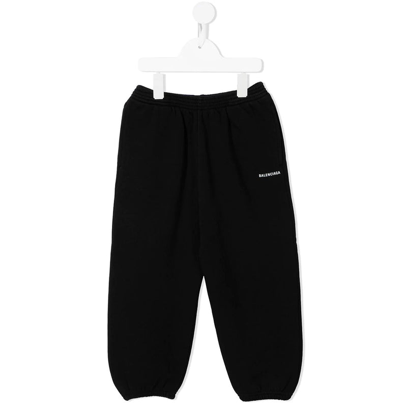 Boys & Girls Black Logo Cotton Trousers