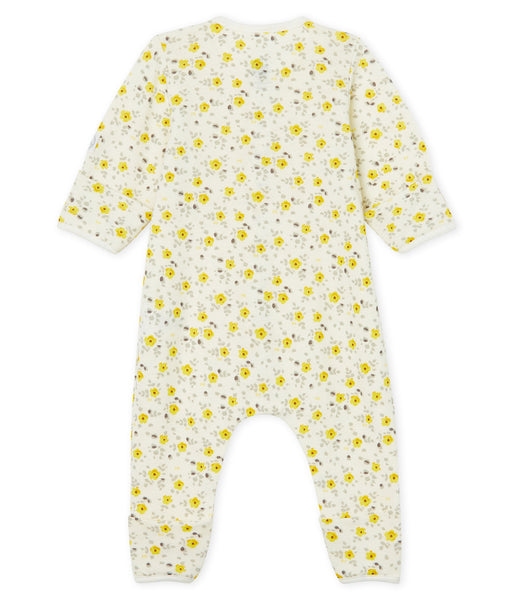 Baby Girls Yellow Floral Cotton Babysuit