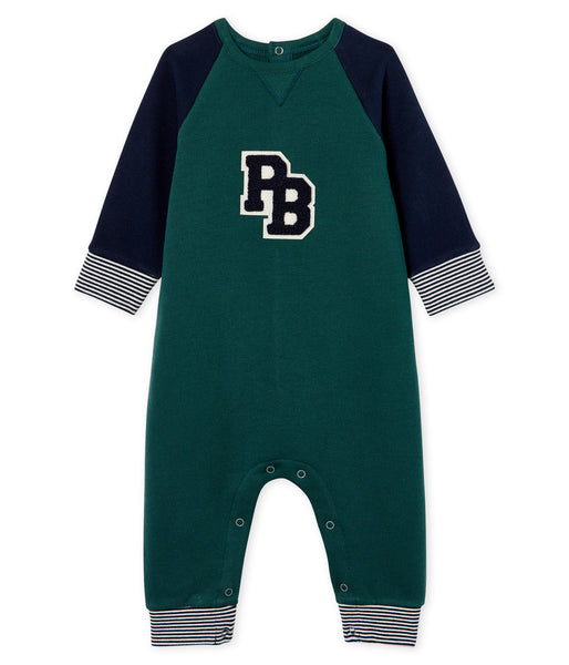 Baby Boys Green Cotton Babysuit