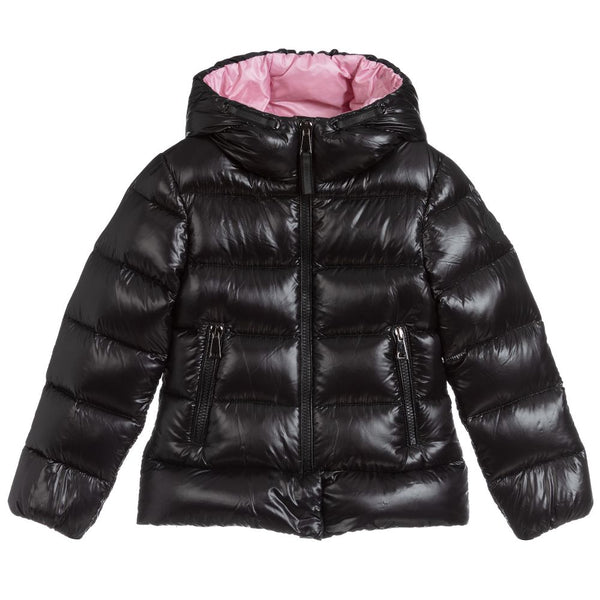 "Girls Black ""SUNDAY"" Padded Down Jacket"