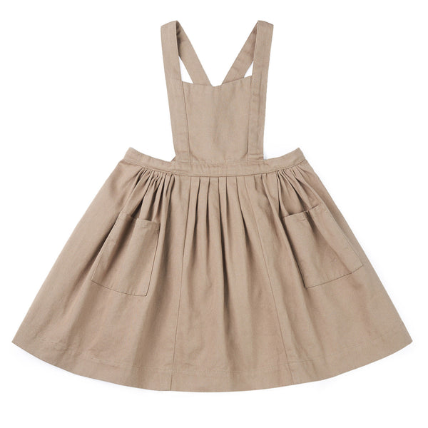 Girls Khaki Strap Cotton Skirt