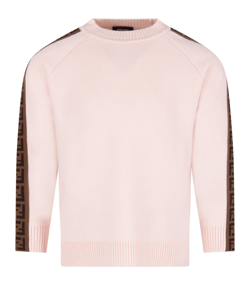 Girls Light Pink FF Virgin Wool Jumper