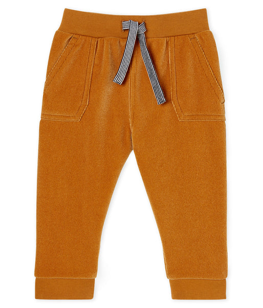 Baby Boys Copper Yellow Cotton Trousers