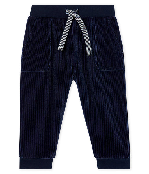 Baby Boys Dark Blue Cotton Trousers