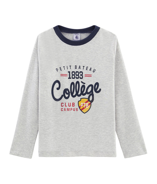 Boys Grey Logo Cotton Shirt