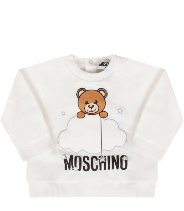 Baby Boys & Gilrs White Teddy Bear Cotton Sweatshirt