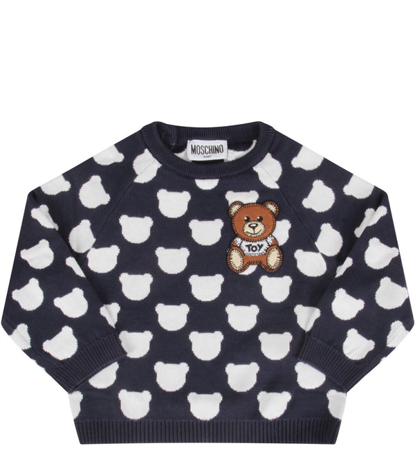 Baby Boys & Girls Navy Teddy Bear Cotton Jumper