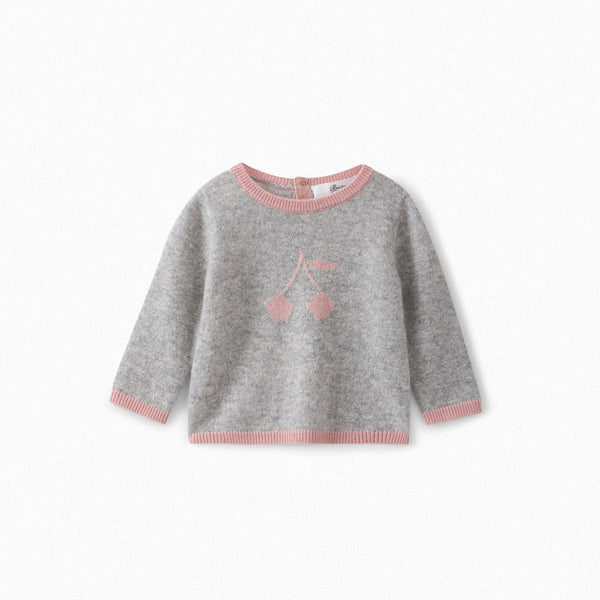 Baby Girls Grey Cherry Cashmere Jumper