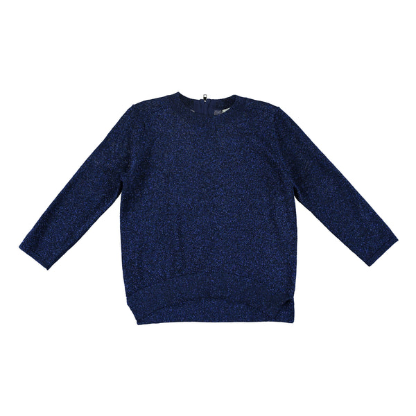 Boys Shiny Blue Cotton Sweater