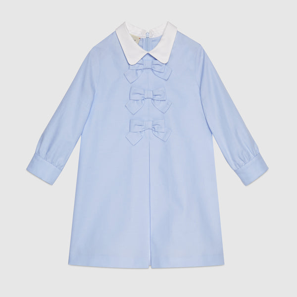 Girls Light Blue & White Cotton Dress