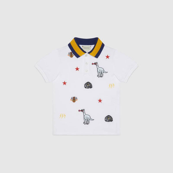 Baby Boys White Embroidered Cotton Polo Shirt