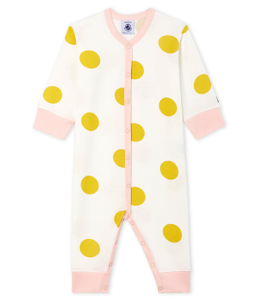Baby Girls White & Yellow Cotton Babysuit
