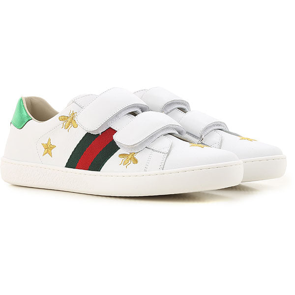 Boys & Girls White Calf Skin Sneakers