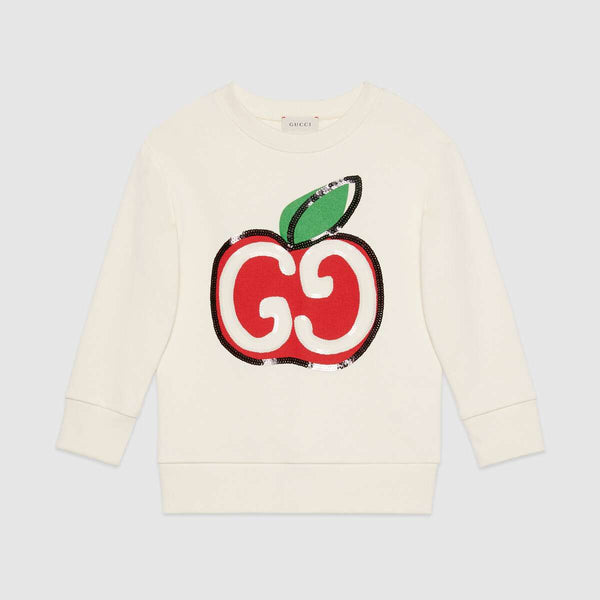 Boys & Girls White GG Apple Print Cotton Sweatshirt