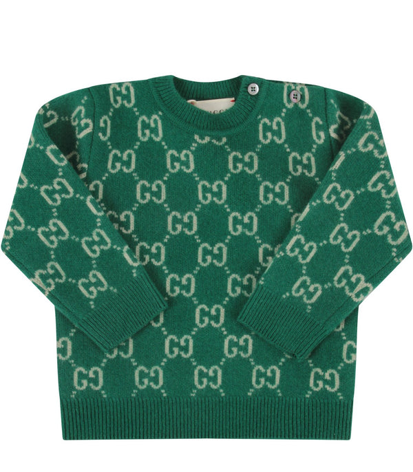 Baby Boys & Girls Green GG Wool Jumper