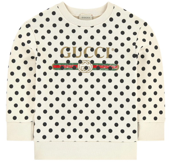 Girls White Dots Gucci Cotton Sweatshirt