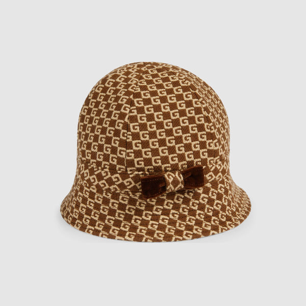 Girls Dark Brown GG Wool Hat