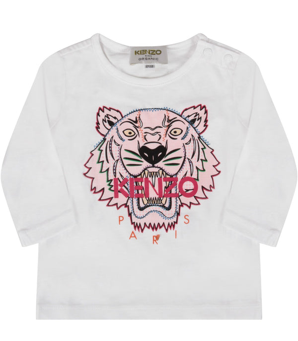 Baby Girls Optic White Cotton T-Shirt