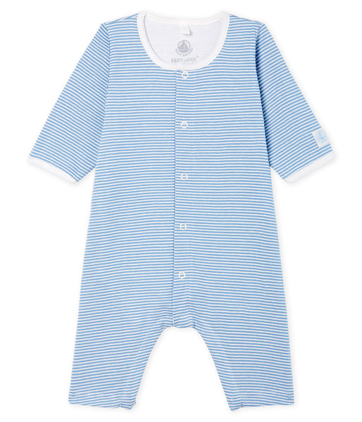Baby Boys Blue Striped Cotton Babysuits