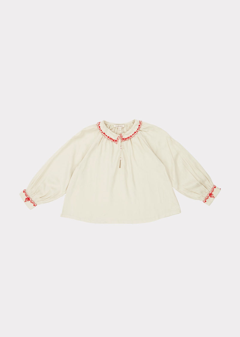Girls White Embroidered Top