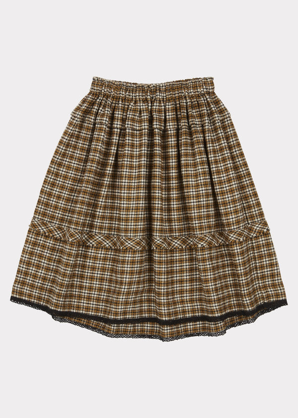 Girls Yellow Check Wagtail Skirt