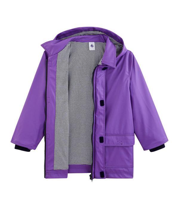 Girls Purple Hooded Coat