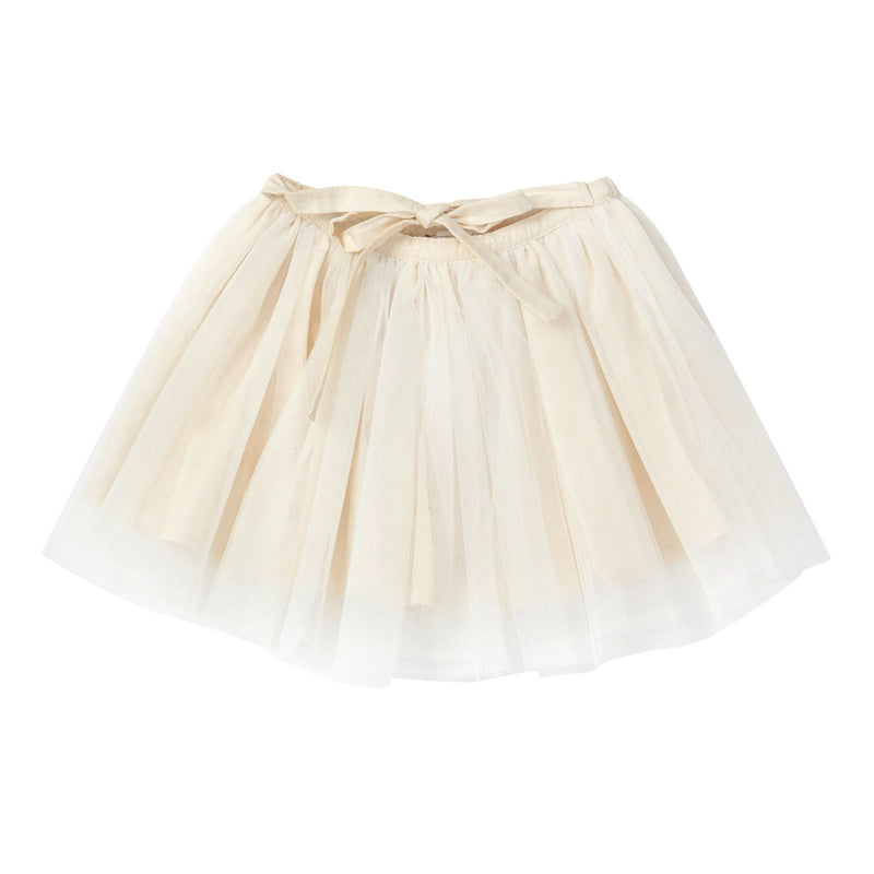 Girls Beige Muti Layered Tulle Skirt With Bow Trims - CÉMAROSE | Children's Fashion Store