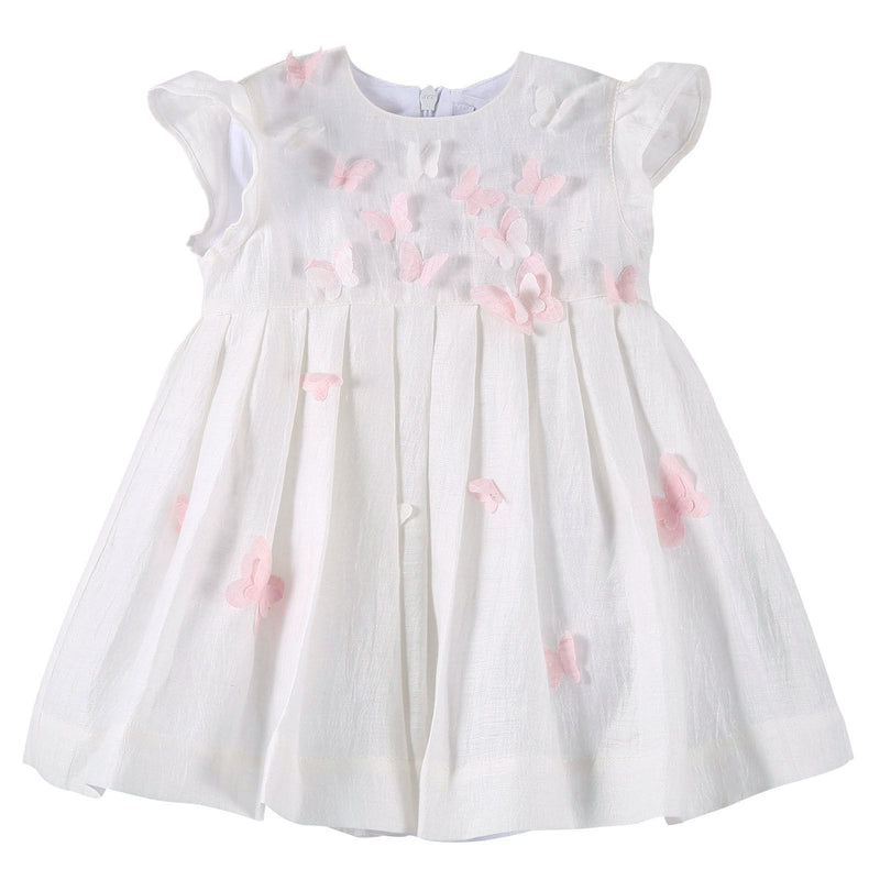 Baby Girls Ivory Dress With Pink Butterfly Patch Trims - CÉMAROSE | Children's Fashion Store - 1