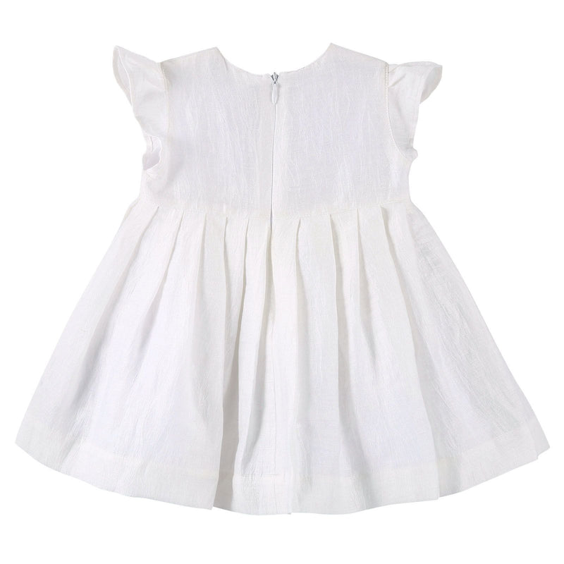 Baby Girls Ivory Dress With Pink Butterfly Patch Trims - CÉMAROSE | Children's Fashion Store - 2