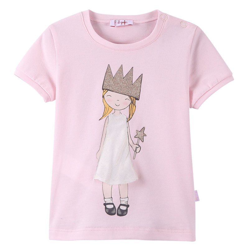 Girls Light Pink Fairy Printed T-Shirt With Ribbed Cuffs - CÉMAROSE | Children's Fashion Store - 1