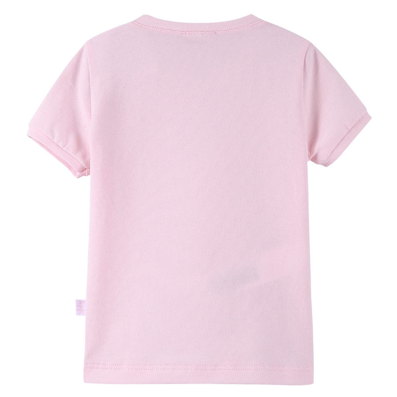 Girls Light Pink Fairy Printed T-Shirt With Ribbed Cuffs - CÉMAROSE | Children's Fashion Store - 2