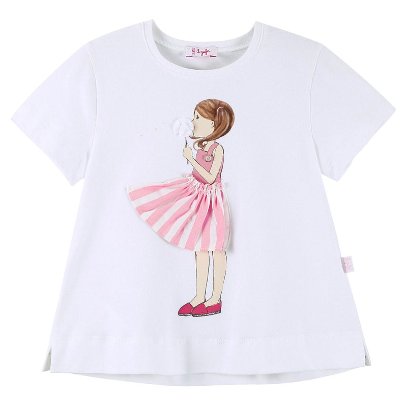 Girls White T-Shirt With Cartoon Print Logo Trims - CÉMAROSE | Children's Fashion Store - 1
